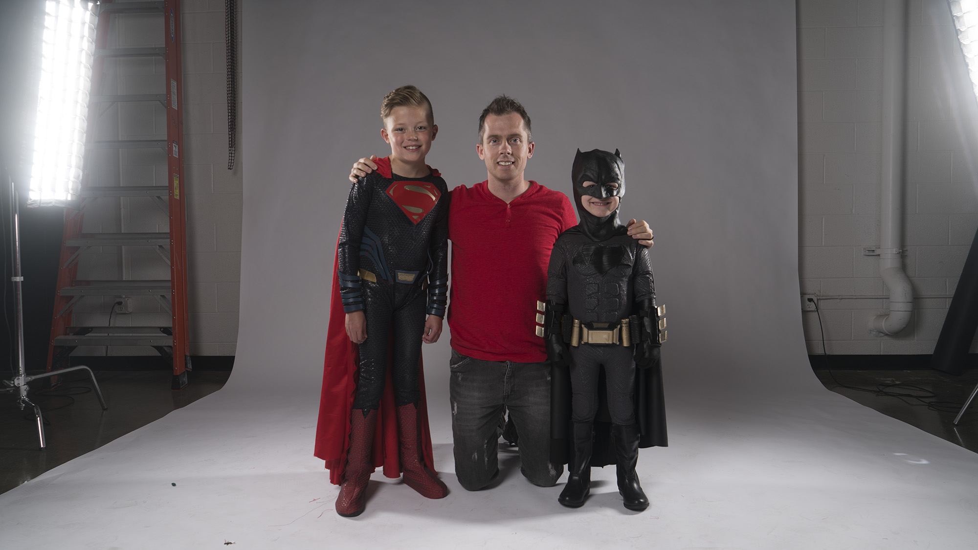 Courtesy: Josh Rossi - Josh Rossi with Taegan (Superman) and Simon (Batman)