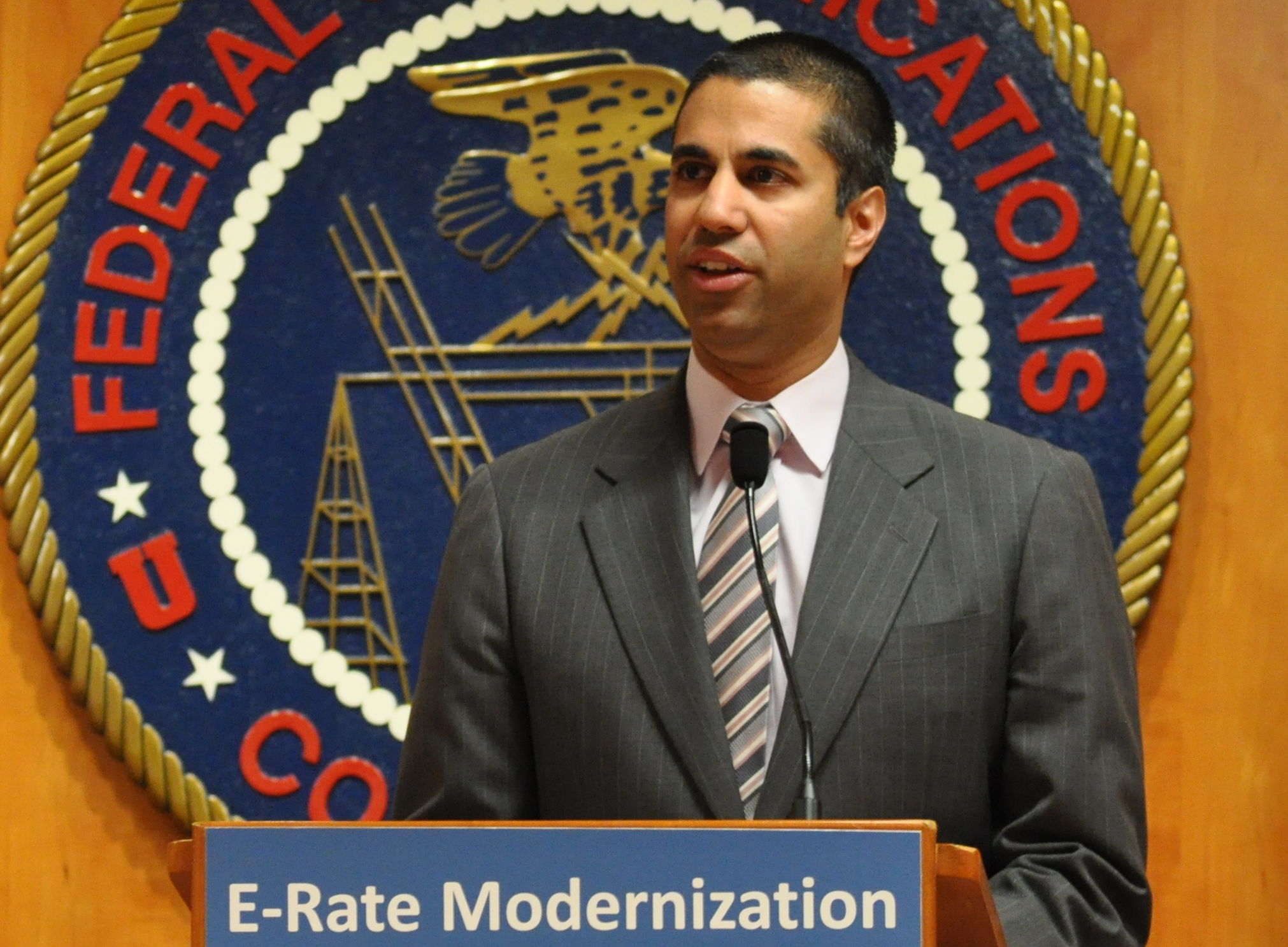 Pai speaking at a 2014 FCC workshop. Courtesy of the FCC.