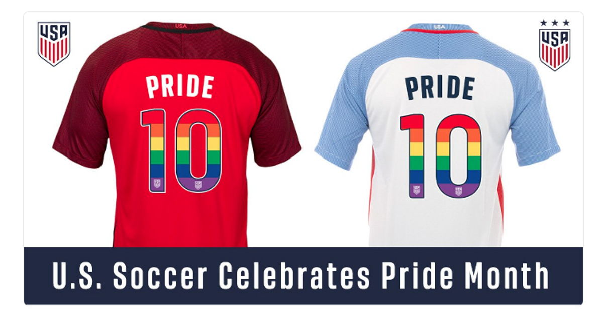 The U.S. Soccer Women's and Men's National Teams will sport rainbow-numbered jerseys in support of LGBTQ Pride Month in June. Fans can also order customizable matching jerseys.