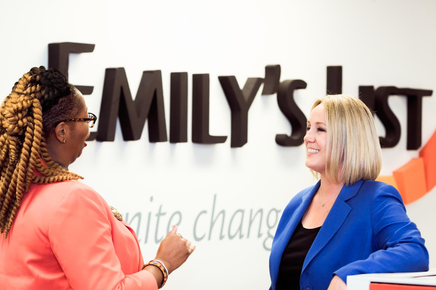 Stephanie Schriock (right) at the Emily's List offices.