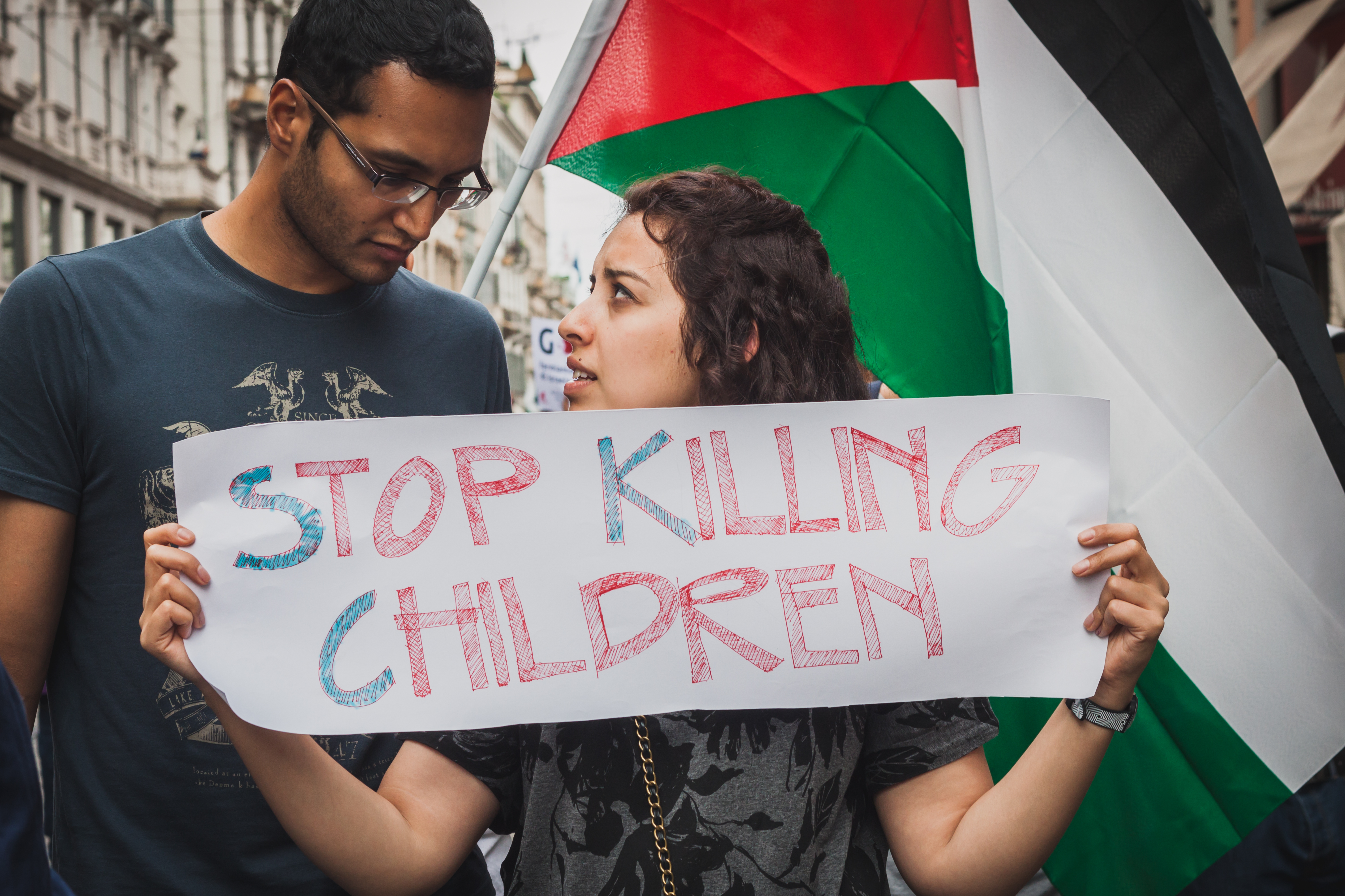 People in Milan, Italy, march in protest of bombings in Gaza in July, 2014. Tinxi / Shutterstock.com