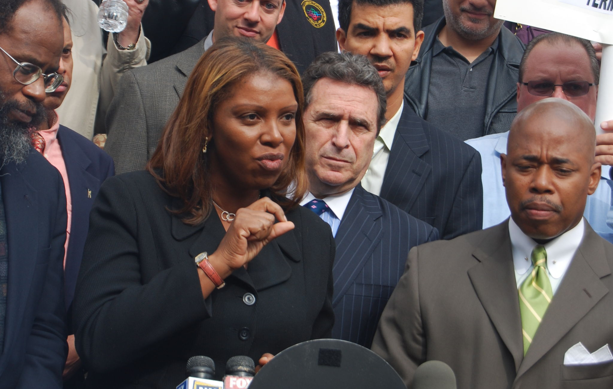 James speaking at a 2008 press conference.