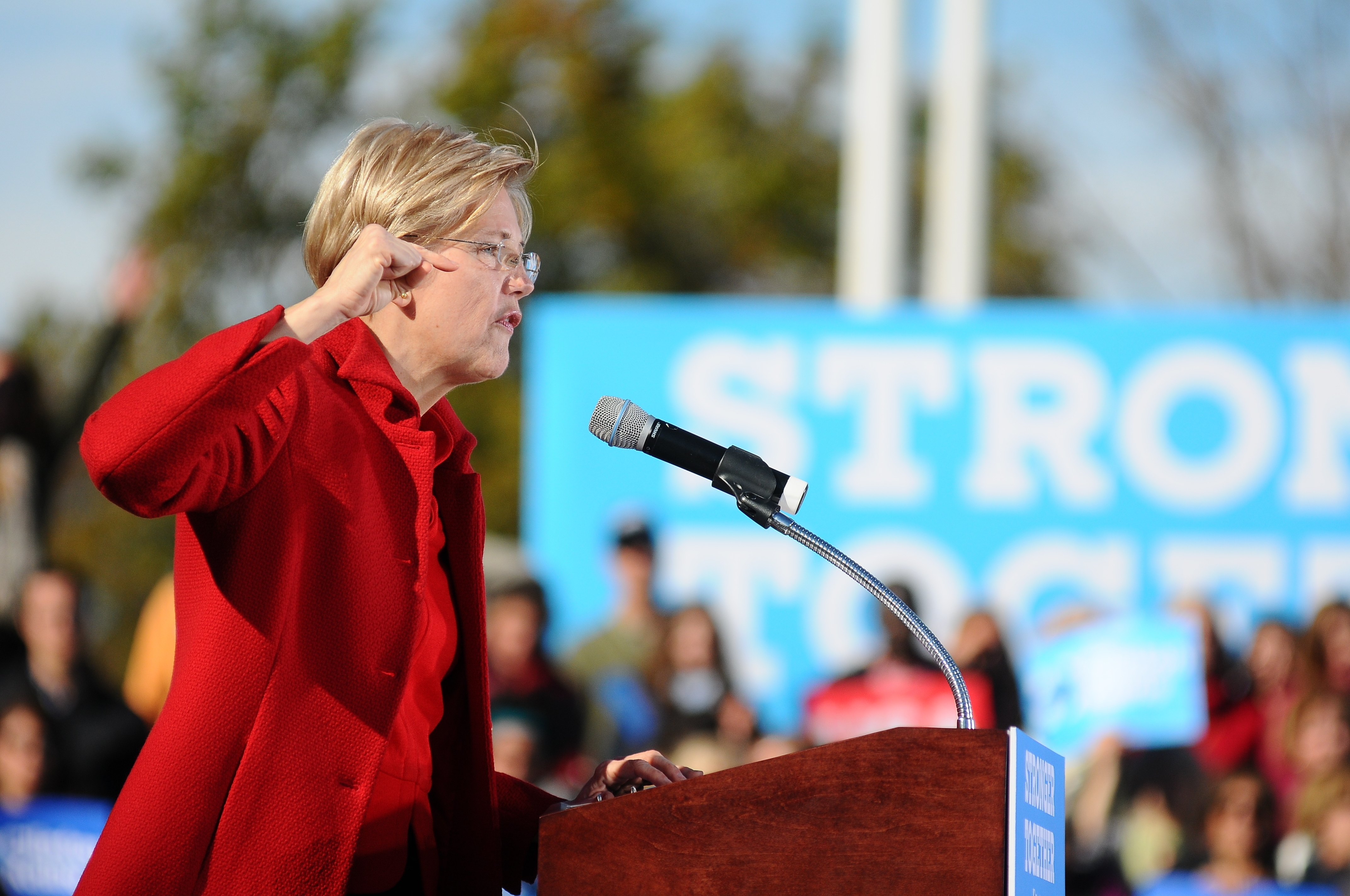 Sen. Warren campaigns for then-presidential candidate Hillary Clinton in 2016. Andrew Cline / Shutterstock.com.